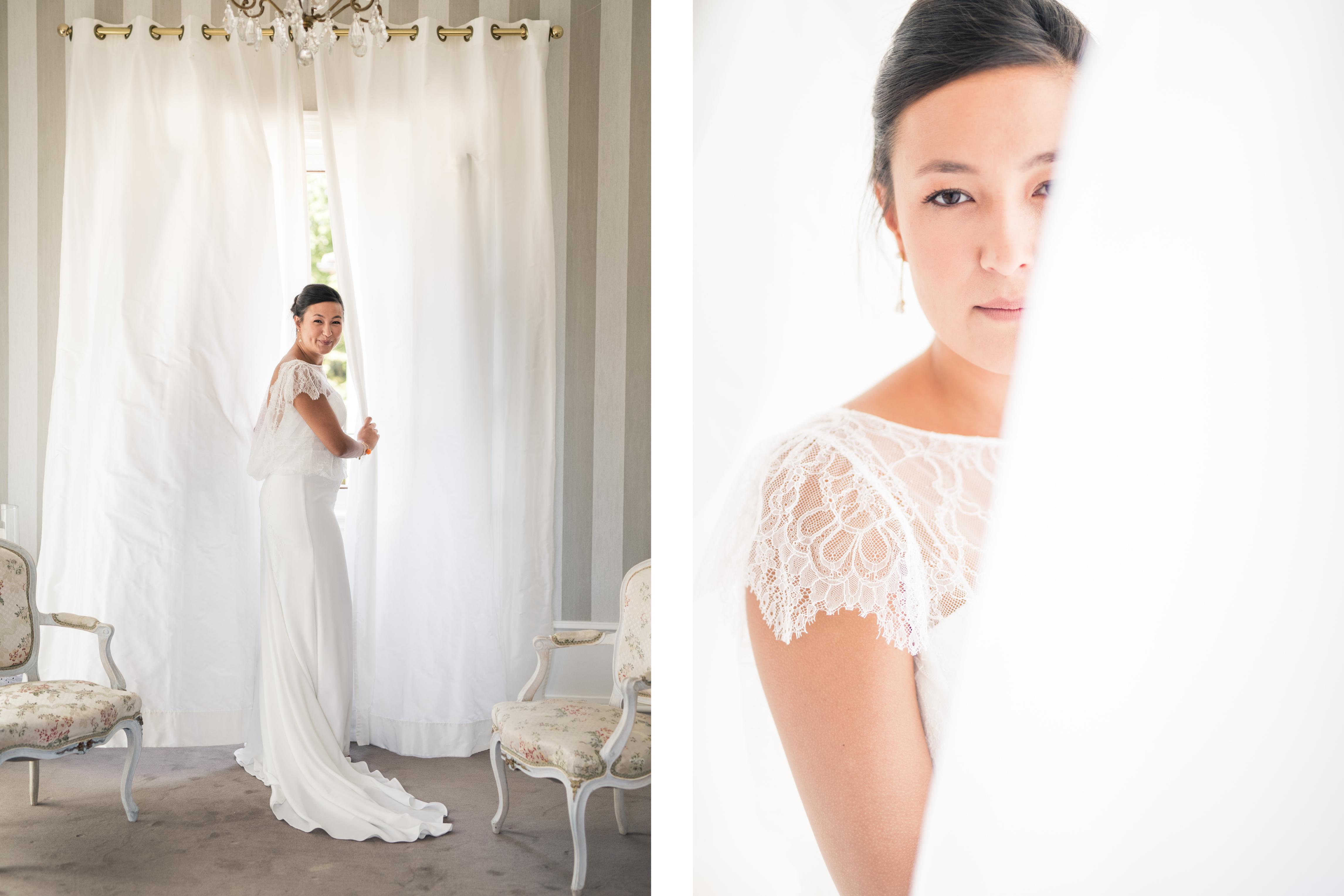 photo de mariée durant les préparatifs du mariage