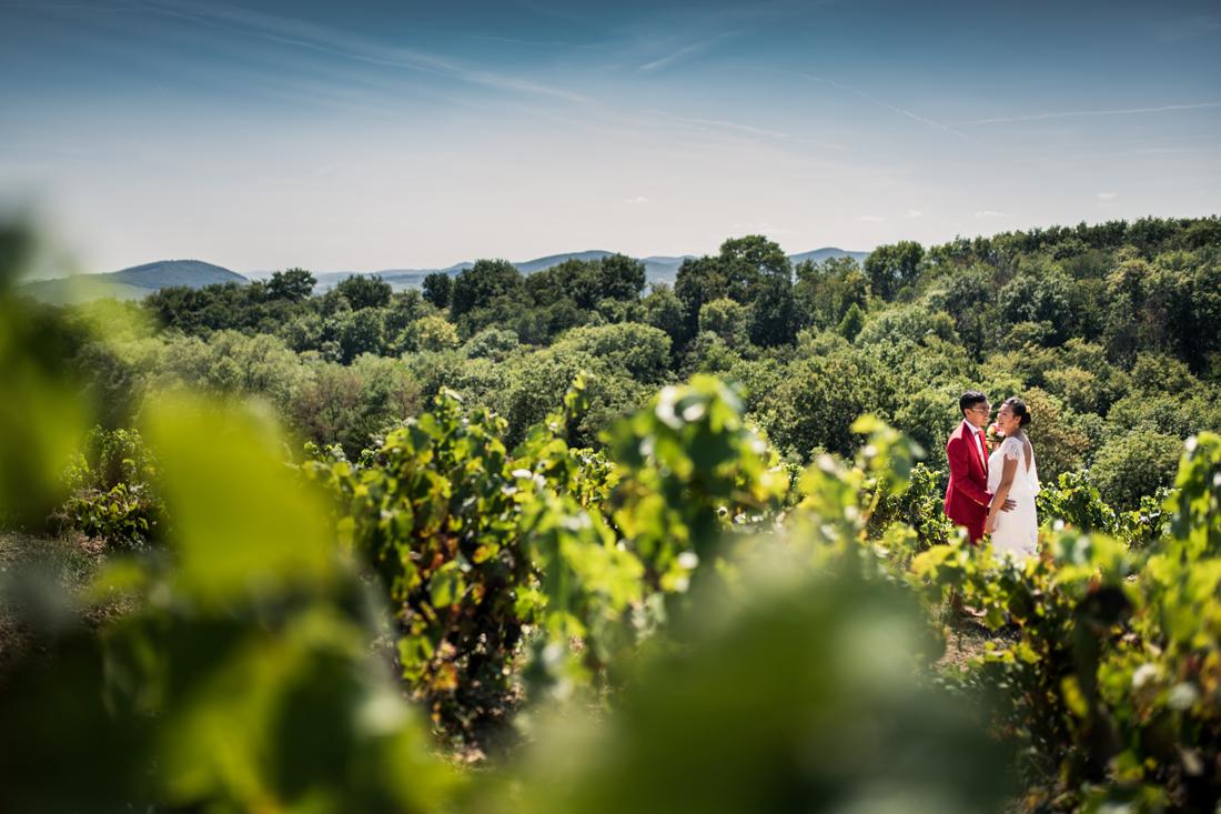 mariés dans les vignes à Villié Morgon en bourgogne sud
