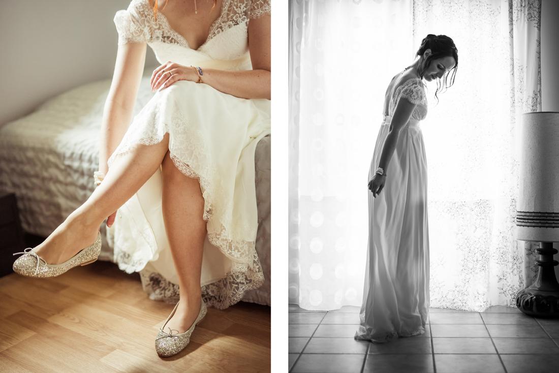 préparatifs de la marié en couleur et noir et blanc.