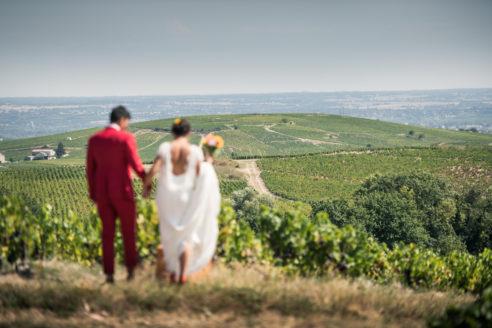 photo de marié au dessus de la bourgogne sud à Villié-Morgon
